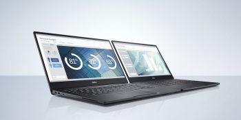 Dell Latitude 13 7000 Series (Model 7370) notebook computer, codename Celtic in carbon fiber (black) and aluminum (grey).